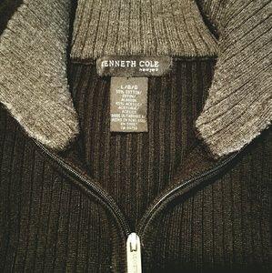 Kenneth Cole Sz Large Black ZipUp Cardigan Sweater